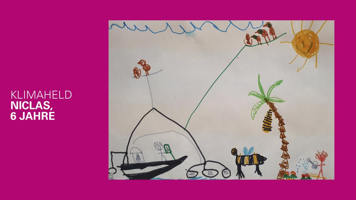 gemaltes Bild eines Klimahelden von Niclas, 6 Jahre