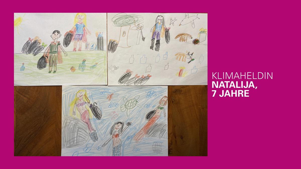 gemaltes Bild eines Klimahelden von Natalija, 7 Jahre